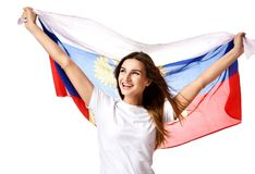 Happy russian soccer fan with national flag shouting celebrating or yelling Stock Images