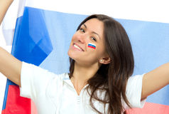 Happy russian soccer fan with russian national flag. Shouting or yelling cheer for the team on euro 2012 on a white background royalty free stock photo