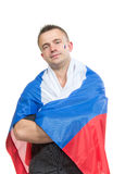 Happy russian soccer fan with russian national flag c Royalty Free Stock Images