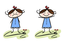 Happy and sad. Colorful cartoon (doodle) illustration set of a girl being sad and a girl being happy Stock Photo
