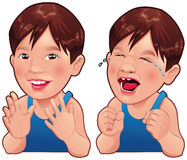 Happy and Sad boy. Cartoon and vector isolated character vector illustration