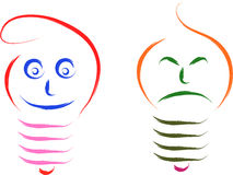 Happy sad bulb Stock Photography