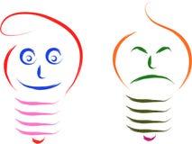 Happy sad bulb vector illustration