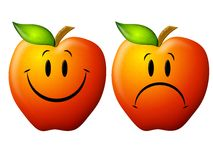 Happy and Sad Cartoon Apples. An illustration featuring your choice of 2 red apples - one smiling and one frowning - isolated on white Stock Photos