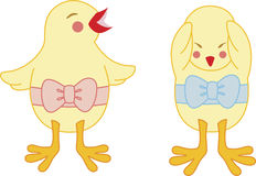 Happy & sad chick. A happy chick with pink ribbon and a sad chick with blue ribbon royalty free illustration