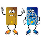 Happy and sad credit cards. Happy and sad cartoon credit cards over white Royalty Free Stock Photography