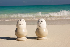 Happy and sad eggss stock photos
