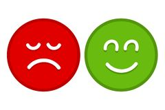 Happy and Sad Emoji Faces Flat Vector for Apps and Websites vector illustration