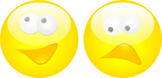 Happy and Sad Face Button. Have a nice day! or not Stock Photos
