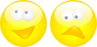 Happy and Sad Face Button Stock Photos