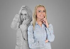 Happy and sad face. Happy and sad woman face Stock Photos