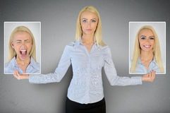 Happy and sad face. Happy and sad woman face stock images