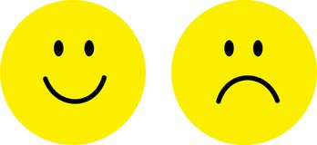 Happy and sad face. Yellow happy and sad face isolate with white background vector illustration