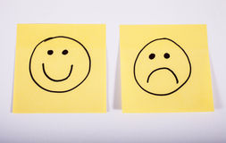 Happy and Sad Faces on Memo Paper. Happy and Sad Faces on Two Pieces of Memo Paper Royalty Free Stock Image