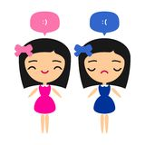 Happy and sad girls. Happy girl and sad girl on white background Stock Images