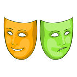 Happy and sad mask icon, cartoon style. Happy and sad mask icon in cartoon style isolated on white background. Events and parties symbol vector illustration Royalty Free Stock Photos