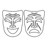 Happy and sad mask icon, outline style. Happy and sad mask icon. Outline illustration of happy and sad mask vector icon for web Stock Image