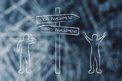 Happy and sad men standing on opposite sides of Good and Bad inv. Happy man next to Good Investment road sign and sad person next to Bad side, concept of Royalty Free Stock Photos