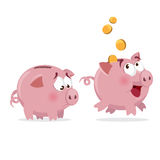 Happy and sad Piggy bank. With money and empty Stock Photography