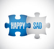 Happy and sad puzzle pieces sign illustration Stock Photos