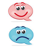 Happy and sad speech bubbles Royalty Free Stock Images