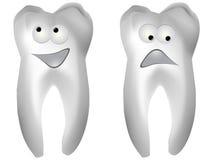 Happy and sad white tooth Stock Photo