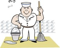 Happy sailor cartoon. Cartoon of smiling sailor on deck, using mop and bucket with ocean background Royalty Free Stock Image