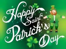 Happy Saint Patirck's Day  Background  with Leprechaun Cartoon Stock Photo