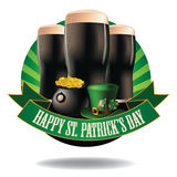 Happy Saint Patrick's Day dark beer burst icon. EPS 10 vector stock illustration Royalty Free Stock Image