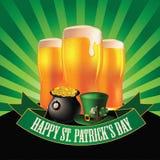 Happy Saint Patrick's Day light beer burst design Stock Photos