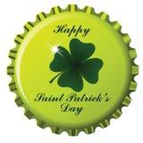 Happy saint patrick bottle cap. Happy saint patrick's day theme on bottle cap against white background; abstract vector art illustration Royalty Free Stock Images