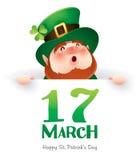 Happy Saint Patrick Day! Leprechaun with big sign. Stock Photo