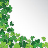 Happy Saint Patrick`s Day Background. Clover, shamrock isolated on white background. stock illustration