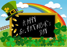 Happy Saint Patrick s Day on Blackboard Stock Photography