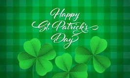 Happy Saint Patrick`s day card with shamrock clover on green gingham background. Vector St Patrick lettering. For Feast of Saint Patrick festival day on 17 Stock Photos
