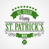 Happy Saint Patrick's Day Card. Typographic With Royalty Free Stock Image