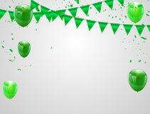 Happy Saint Patrick`s Day Celebration party banner. Happy Saint Patrick`s Day, Celebration party banner with Green balloons isolated on white background Stock Photos