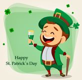 Cartoon funny leprechaun holding a glass of beer. Happy Saint Patrick`s Day. Character with green hat. Cartoon funny leprechaun holding a glass of beer. Vector Stock Images