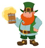 Cartoon happy leprechaun holding a pint of fresh beer. Stock Image