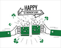 Happy Saint Patrick's day. Green beer toasting Stock Image