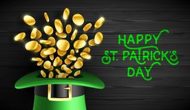 Happy St. Patricks Day greeting card. Happy Saint Patrick`s Day greeting card design, Feast of Saint Patrick celebration, 17 March greeting card with leprechaun Royalty Free Stock Images