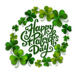 Happy Saint Patrick's day handwritten message, brush pen lettering decorated with shamrock leaves, postcard, vector Royalty Free Stock Photos