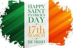 Free Happy Saint Patrick`s Day Holiday Banner With Irish Flag Colors Brush Stroke Background. 17 March, Be Irish. Stock Images - 139701864