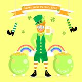 happy saint patrick`s day, man with beard wearing green costume and hat and shamrock four leaf clover royalty free illustration