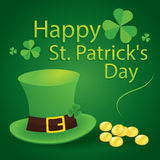 Happy saint patrick's day 17 march with leprechaun hat, shamrock. This is happy saint patrick's day 17 march with leprechaun hat, shamrock leaves and gold Royalty Free Stock Photo
