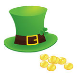 Happy saint patrick's day 17 march with leprechaun hat, shamrock Royalty Free Stock Photography