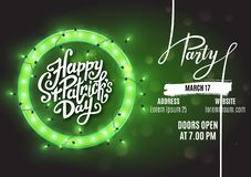 Happy Saint Patrick`s Day party flyer template retro neon heart with led lights, vector illustration. Design vector illustration