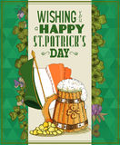 Happy Saint Patrick's Day Party Poster with beer mug Royalty Free Stock Image
