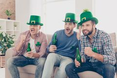 Happy Saint Patrick`s day! Portrait of attractive, handsome, imp royalty free stock photography