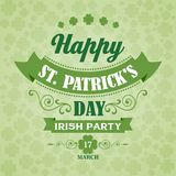 Happy Saint Patrick's Day Poster. Typographic With Royalty Free Stock Images